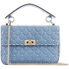 VALENTINO GARAVANI ROCKSTUD MEDIUM QUILTED LEATHER BAG (€1.990) ❤ liked on Polyvore featuring bags, handbags, quilted leather purse, quilted leather handbags, valentino bag, blue bag and blue purse