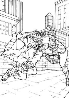 lizard spiderman coloring pages from Spiderman Coloring Pages Printable. The Spiderman is a well known super hero who is good at climbing buildings. The red-costumed superhero figure was created by comic artist Stan Lee ab. Octopus Coloring Page, Hulk Coloring Pages, Superhero Coloring Pages, Spiderman Coloring, Marvel Coloring, Preschool Coloring Pages, Coloring Pages For Boys, Coloring Books, Kids Coloring