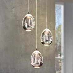LED-hengelampe Rocio i krom, tre lys Contemporary Pendant Lights, Modern Pendant Light, Glass Pendant Light, Glass Pendants, Pendant Lighting, Luminaire Sur Rail, Luminaire Led, Lampe Led, Cooking