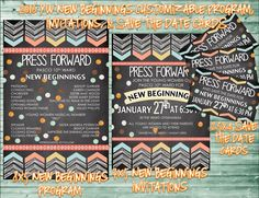 2016 LDS Young Women New Beginnings Customized Program, Invitations, and Save the Date cards! Press Forward theme - purchase at amysbasketdesigns.etsy.com