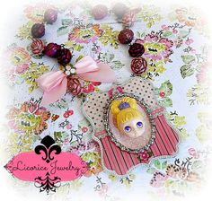Pink Blythe Doll Princess Cameo Style Statement NEcklace by LicoriceJewelry
