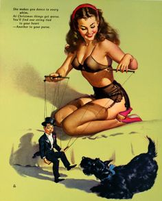 Calendar pin up art by Gil Elvgren, December 1952.