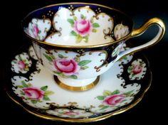 Royal Albert Cup Saucer c1917 Pink Roses Rich Cobalt Blue | eBay