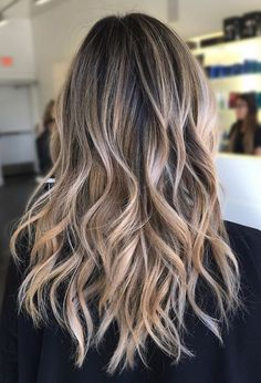 Blond bayalage on dark brunette base