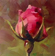 "Daily Paintworks - ""Gratitude for a Garden Rose"" - Original Fine Art for Sale - © Anne Ducrot"