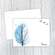 Personalized Printed Note Cards - Winter Birds Bare Tree, Small Letters, Personalized Note Cards, Birds In Flight, White Envelopes, Card Stock, Birthday Gifts, Great Gifts, Notes
