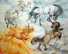 This pin shows you different 4 Unicorn Horses and I think these shows their different powers Unicorn Fantasy, Unicorn Horse, Air Fire, Esoteric Art, Elements Of Nature, Horse Art, Body Painting, Mystic, Horses