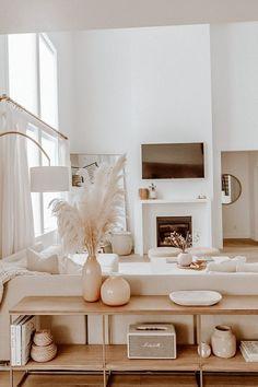 Boho Living Room, Home And Living, Living Room Neutral, Modern Living, White Living Rooms, Living Room Goals, Living Room Inspiration, Home Decor Inspiration, Decor Ideas