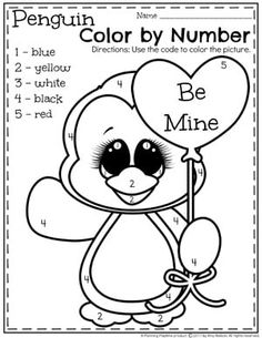 Preschool Valentine Worksheets - Color by Number. Preschool Colors, Numbers Preschool, Preschool Themes, Valentine Theme, Valentine Day Crafts, Valentine Nails, Valentine Ideas, Valentines Day Activities, Thanksgiving Activities