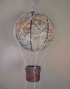 MAP fabric hot air balloon , Nursery Decor, Children Mobile, Custom Mobile, Party decor,Baby shower decor,Handmade Hot Air Balloon Mobile by vikey1778 on Etsy https://www.etsy.com/listing/268978134/map-fabric-hot-air-balloon-nursery-decor
