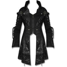 Punk Rave vergiften schwarz Womens Jacket Mantel Gothic Steampunk Faux... ($230) ❤ liked on Polyvore featuring activewear