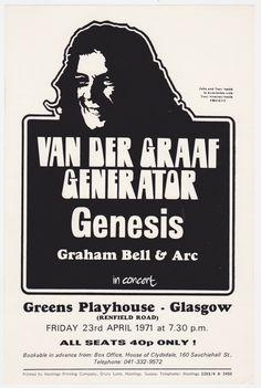 Genesis & Van Der Graaf Generator - Charisma Package Tour 1971Handbill - Recordmecca