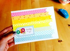 "Pretty & easy ""thank you"" card with washi tape"