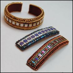 These awesome cuffs and barrettes are stitched with  the incredible Tila Beads. Although I prefer  dimensional use for these beads, I am