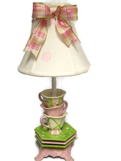Tea Cup Lamp, Teapot Lamp, Tea Cups, House Of Chic, Shabby Chic Shower Curtain, Shabby Chic Lamps, Tea Party Decorations, Alice, Pink Polka Dots