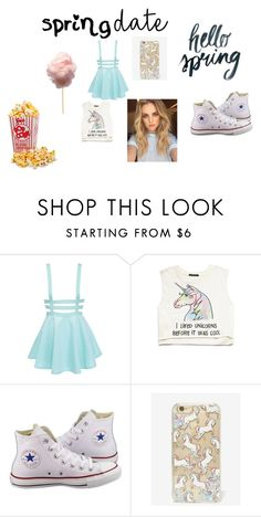 """date at the carnival"" by maryjsullivan ❤ liked on Polyvore featuring Forever 21, Converse, Skinnydip, cottoncandy, popcorn, CarnivalDate, foooooood and hehehehe"