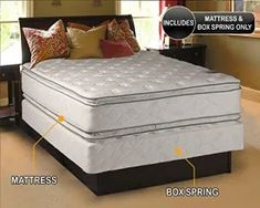 Dream Solutions USA Serenity Pillow Top - (Queen Size) Medium Soft Mattress and Box Spring Set Double-Sided Sleep System with Enhanced Cushion Support-Fully Assembled, Back Support, Longlasting