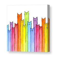 Cartoon Cat Painting - Cat Rainbow Watercolor Pattern by Olga Shvartsur Watercolor Pattern, Watercolor Cards, Watercolour, Pattern Painting, Kids Watercolor, Rainbow Art, Rainbow Drawing, Rainbow Painting, Rainbow Images