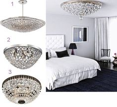 Love the scaling of hanging fixture Dramatic Black and Crystal Chandeliers in a Bedroom