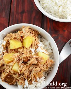 This Hawaiian BBQ chicken over rice is the perfect weeknight meal. Its made in the crockpot and one of our familys favorite meals.#lmldfood #crockpot