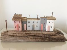Driftwood Cottages, Driftwood Houses, Coastal Seaside Beach Ornament, Miniature Houses, Nautical, Shabby Chic Unique Gift Driftwood Sculpture, Driftwood Art, Beach Ornaments, Seaside Beach, Miniature Houses, Little Houses, Cottages, Unique Gifts, Coastal