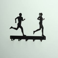 Running Couple Metal Art Medals Rack by KnobCreekMetalArts on Etsy, $24.99