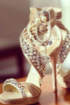 Hermosos zapatos de novia.