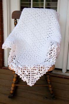 White baby blanket, crochet by barbara.torpey.9
