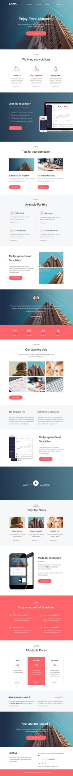 Sigma is multipurpose responsive Email Template + Builder 1.0 #newsletter #emailtemplate #marketing Download Now!