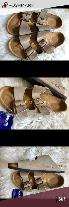 BNWT Birkenstock tan Suede 39 Originally$125 Brand new with tags & box. Classic Arizonas with comfy Suede/leather uppers.  All items are inspected throughly and filmed before shipment.  Sz 39 regular width. No returns so please know your size in Birks before ordering. I can only guarantee I will be sending the European size stated on the listing. Birkenstock Shoes Sandals