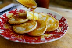 Eggnog Silver Dollar Pancakes with Nutmeg Syrup. A Christmas breakfast treat! #CookieChatter