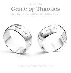 Game of thrones wedding rings. Inspired by the smash hit television series Game of Thrones. Simple text on wide 8mm wedding rings in a distressed, simple font. Reads moon of my life - my sun and stars.