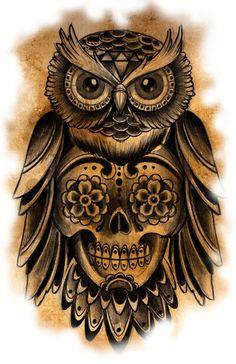 Owl Tattoo Art Print by Charlie