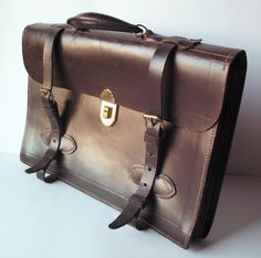Rare Vintage Rexbilt Brown Leather WWII Officer's Briefcase by PoorLittleRobin, $100.00