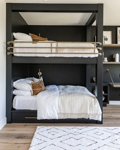 Painted bunk beds in dark moody color with light floors – Most Beautiful Furniture Painted Bunk Beds, Bunk Beds Built In, Cool Bunk Beds, Cabin Bunk Beds, Queen Bunk Beds, Modern Bunk Beds, Home Bedroom, Bedroom Decor, Bedroom Girls