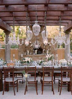 Tablescape | chandeliers Gorgeous Vintage Wedding Inspiration  #Wedding