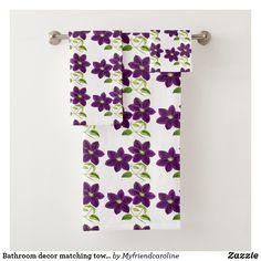 Shop Bathroom decor matching towel set purple flower created by Myfriendcaroline. Spa Towels, Bathroom Towels, Bath Towel Sets, Luxury Bath, Purple Flowers, Floral Tie, Print Design, Europe, Textiles