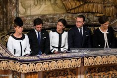 Princess Madeleine, Prince Carl Philip, Princess Sofia, Prince Daniel, and Crown Princess Victoria of Sweden attend a service at the Church of St. Nicholas in connection with the opening of the parliamentary session on September 15, 2015 in Stockholm, Sweden.