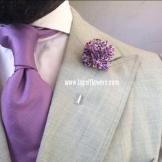 Purple and Grey are a Classic Combo Sharp Dressed Man, Well Dressed, Dandy, Heavy Clothing, Tie And Pocket Square, Pocket Squares, Lapel Flower, Classic Suit, Stylish Mens Outfits