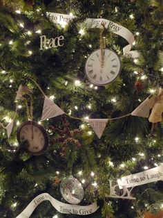 Christmas Tree bunting made out of book pages and twine.