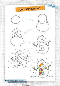 Art Drawings For Kids, Doodle Drawings, Drawing For Kids, Animal Drawings, Easy Drawings, Art For Kids, Easy Christmas Drawings, Christmas Doodles, Drawing School