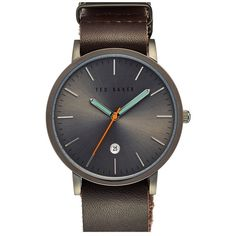 Ted Baker London Leather Strap Watch, 40mm (1,465 EGP) ❤ liked on Polyvore featuring men's fashion, men's jewelry, men's watches, mens leather strap watches, colorful mens watches and mens stainless steel watches