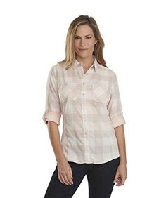 Woolrich Womens Conundrum Double Cloth Long Sleeve Shirt SilverGray Buffalo Small *** Read more  at the image link.