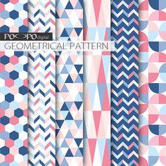 Blauwe en roze papier voor geometrische digitale scrapbooking achtergrond patroon partij gift wrap papier nodigt Marine ontwerp grafische vormen baby pastel
