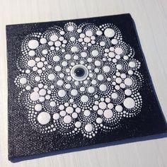 Original White dots on Black Mandala Painting on Canvas