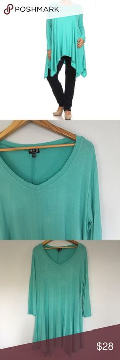 B + B Plus Size Aqua Asymmetrical Tunic B + B Long Sleeve Asymmetrical Plus aside Aqua Tunic. Like new condition. Super soft. B + B Tops Tunics