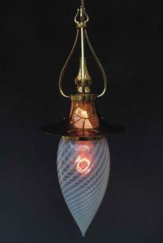 Birmingham Guild of Handicrafts set of 2 Pendant Lights with Antique Vaseline glass Shades.