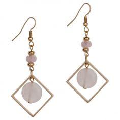 Boucles d'oreilles carrées dorées pierres roses