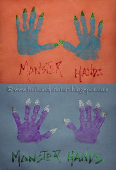 october crafts for kids Super cute handprint Monster Hands Art Project for kids to make for Halloween or a monster themed birthday party. Cute Monster Tutus & Shirts also feature Halloween Art Projects, Theme Halloween, Halloween Arts And Crafts, Halloween Activities, Halloween Kids, Fall Crafts, Preschool Halloween, Halloween Songs, Hand Crafts For Kids