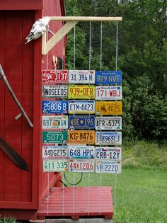 outdoor shower curtain made with back to back old license plates